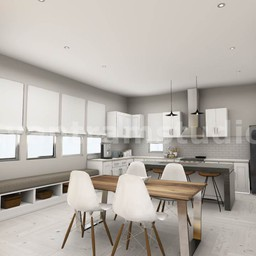 3D Interior Kitchen & Living room Design of Virtual Reality Real Estate Companies by Architectural Modeling Firm, San Jose, California